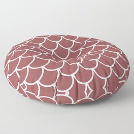 Rustic Red Fish Scales Pattern Floor Pillow