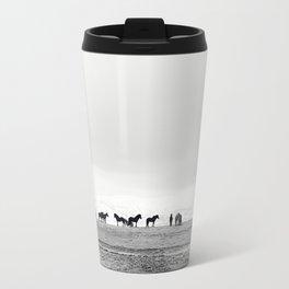 Black and White Horses in Landscape Photograph, Iceland Travel Mug