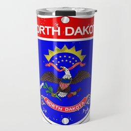 North Dakota Flag Icons As Interstate Sign Travel Mug