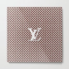 LV Polka Pattern Brown Metal Print