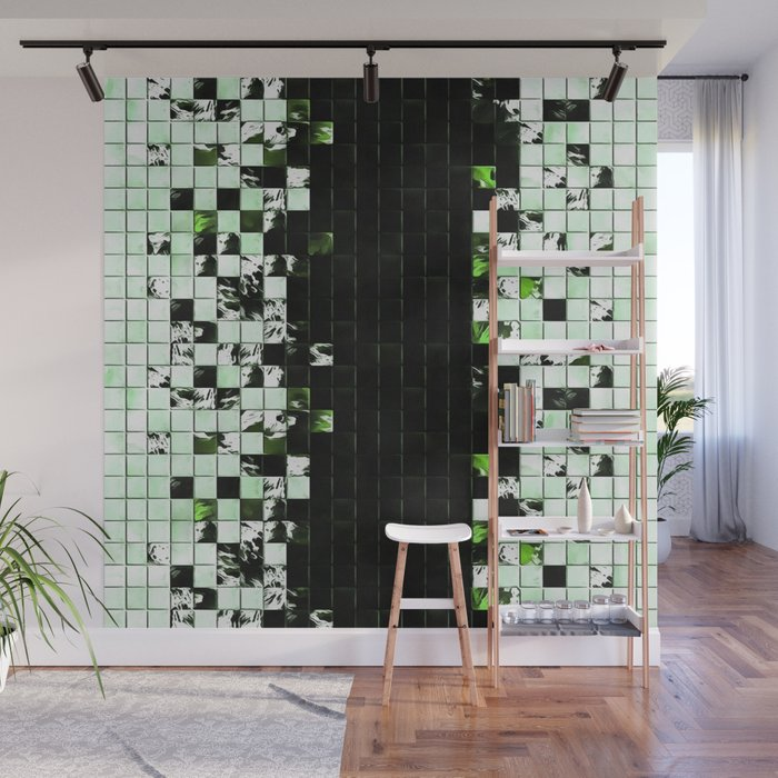 Green Accent Black And White Square Tiled Ceramic Mosaic Pattern Wall Mural By Taiche