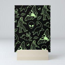 Cryptid Pattern: Green Lines Mini Art Print