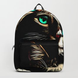 cat turquoise eyes vector art Backpack
