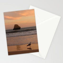 Seagull enjoying golden hour at the beach Stationery Cards