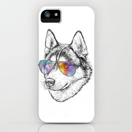 Husky Dog Graphic Art Print. Husky in glasses iPhone Case