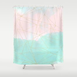 Watercolor abstract and golden triangles design Shower Curtain