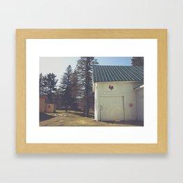 White Barn Red Rooster Framed Art Print