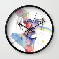 inspiration Wall Clocks featuring Inspiration by Tsukiko-Kiyomidzu
