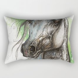 Grey arabian horse Rectangular Pillow