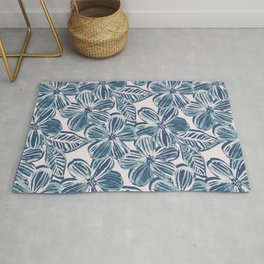 Bold Textured Teal and Grey Linework Floral Rug