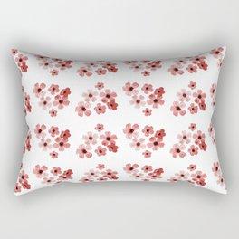 Red Flowers Pattern Rectangular Pillow