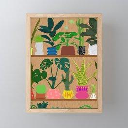 Plants on the Shelf in Warm Wood Framed Mini Art Print