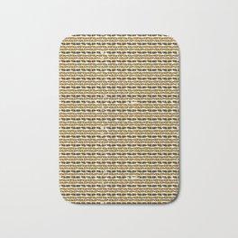 Yellow and Black Abstract Drawn Cryptic Symbols Bath Mat