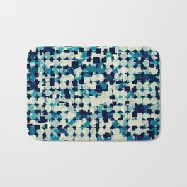 geometric square and circle pattern abstract in blue green Bath Mat