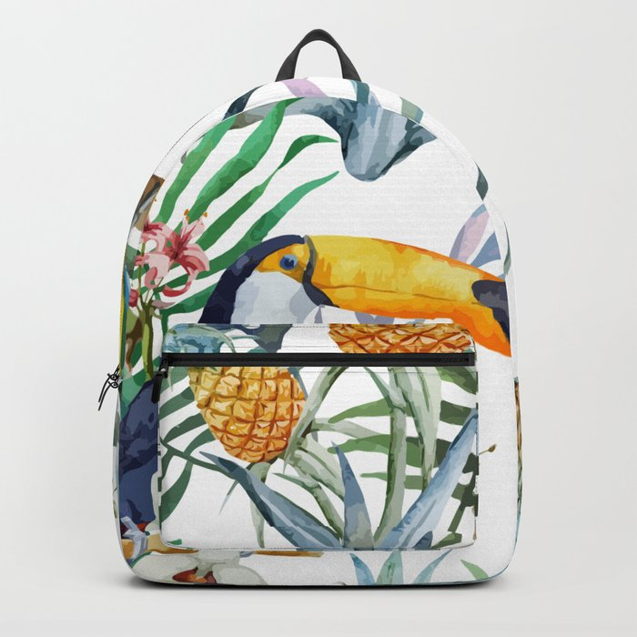 Big Tropical Pattern Toucans Parrot Pineapples Backpack