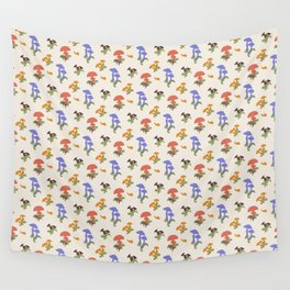 Playful Pattern with Mushrooms and Snails Wall Tapestry