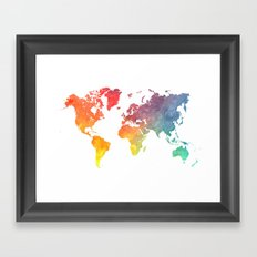 Map of the world colored Framed Art Print