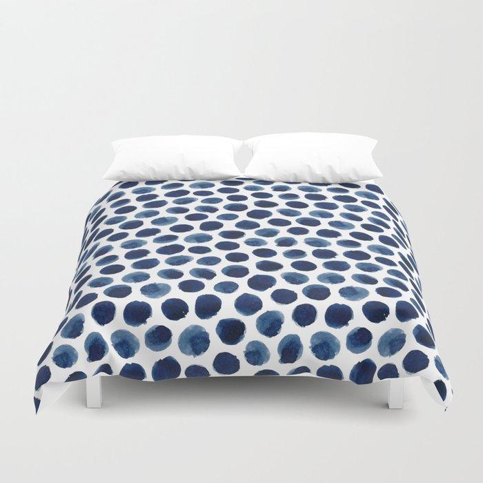 Large Indigo/Blue Watercolor Polka Dot Pattern Bettbezug