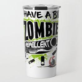 Zombie Repellent Halloween Funny Gun Art Light Travel Mug