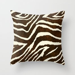 ANIMAL PRINT ZEBRA IN WINTER 2 BROWN AND BEIGE Throw Pillow