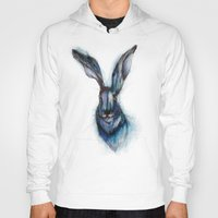 hare Hoodies featuring Blue Hare by ECMazur