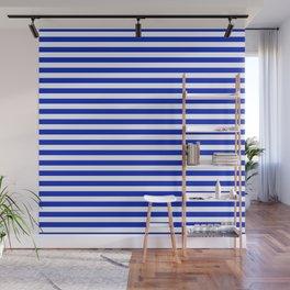 Cobalt Blue and White Thin Horizontal Deck Chair Stripe Wall Mural