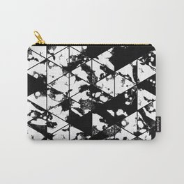 Splatter Triangles - Black and white, abstract, paint splat, triangular pattern Carry-All Pouch