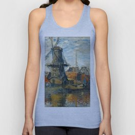"Claude Monet ""The Windmill, Amsterdam"", 1871 Unisex Tank Top"