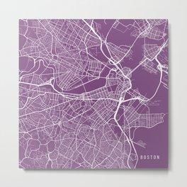 Boston Map, USA - Purple Metal Print