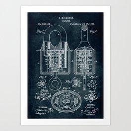 1885 - Padlock patent art Art Print