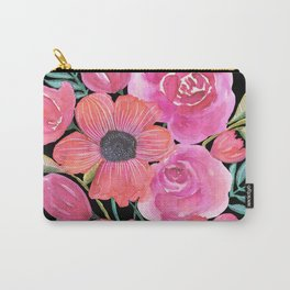 Pink Bouquet on Black Carry-All Pouch