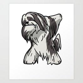 Funny Dabbing Lhasa Apso Dog Dab Dance Art Print