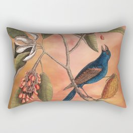 Blue Grosbeak with Sweetbay Magnolia, Vintage Natural History and Botanical Rectangular Pillow