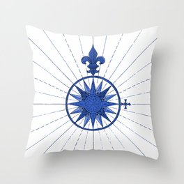 Nautical French Blue Compass Rose Throw Pillow
