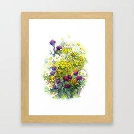 Watercolor meadow flowers Framed Art Print