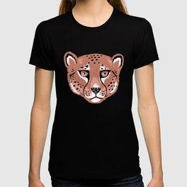 Winter Cheetah Face Pattern - Neutral Brown T-shirt