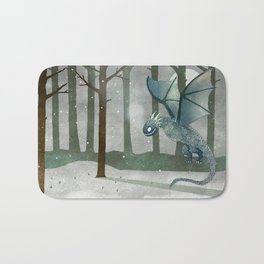 Ice Dragon in Forest Bath Mat