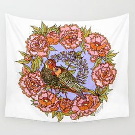 Lovebirds With Peony Wreath Wall Tapestry