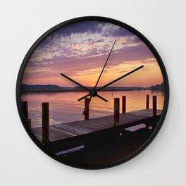 Sunset at Denbigh Pier Wall Clock