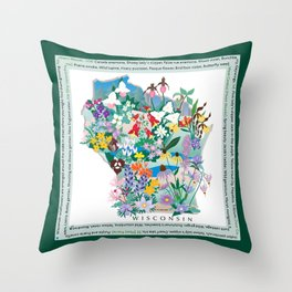 Wisconsin Wildflowers with border Throw Pillow