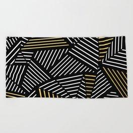 A Linear Black Gold Beach Towel