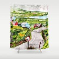 ireland Shower Curtains featuring Ireland by KS Art & Design