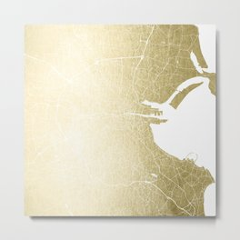 Dublin Street Map Gold and White Metal Print