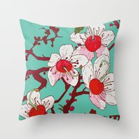 cherry blossoms Throw Pillows featuring Cherry Blossoms by minniemorrisart