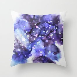 Galaxy - Purple Skies - Alcohol Ink Painting Throw Pillow