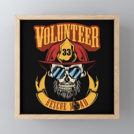 Fire Fighter - Firefighter Skull Rescue Framed Mini Art Print