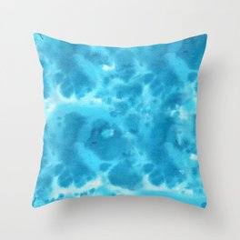 Blue watercolor spots Throw Pillow
