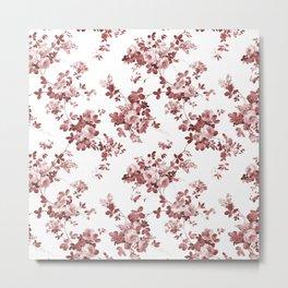Shabby vintage coral burgundy brown roses floral Metal Print