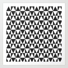 Black White Geometric Hipster Triangles Pattern Art Print