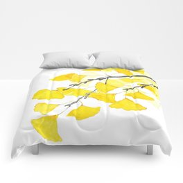 Golden Ginkgo Leaves Comforters